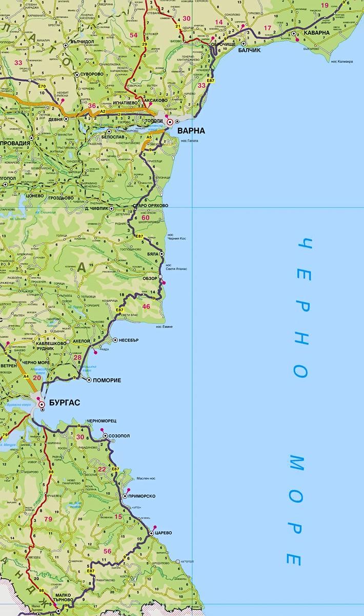 Карта побережье Болгарии